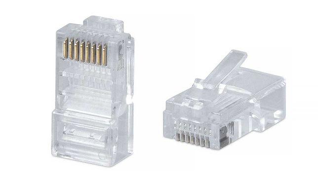 Коннекторы RJ45 обычные и экранированные для сетевого кабеля