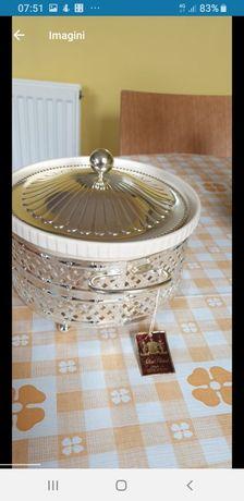 Vas ceramic casserole cu combinația argintate