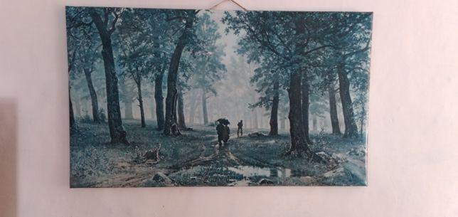 Картина Дождь в дубовом лесу