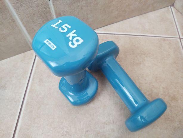 Vând Gantere Fitness 1,5 kg x 2 albastre Decathlon