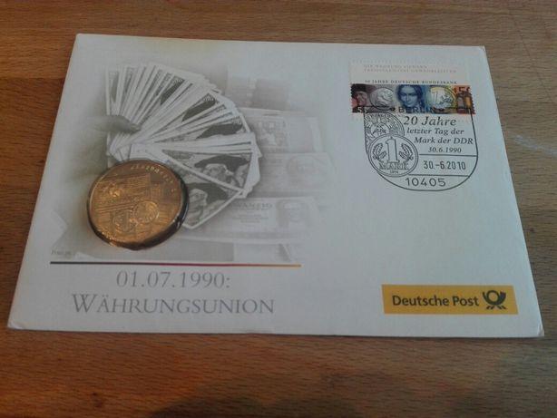 Plic Filatelic Germania + Moneda 1 Marca 1990