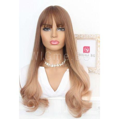 Дълга светлокестенява омбре перука на вълни с бретон Софи