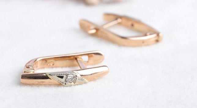 Серьги с бриллиантами , золото 585 Россия, вес 2.15 г. «Ломбард Белый»