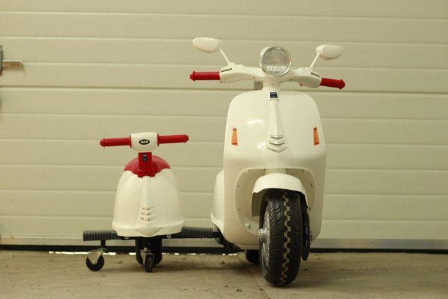 Scuter electric cu atasament pt. 2 copii City Scooter 35W 12V #White
