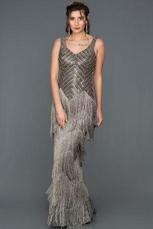 Бална / официална рокля с камъни и ресни