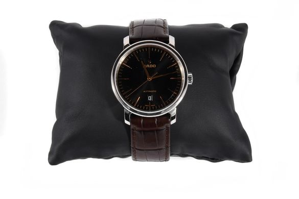 Мъжки часовник Rado DiaMaster XL Black Dial Automatic Leather Strap