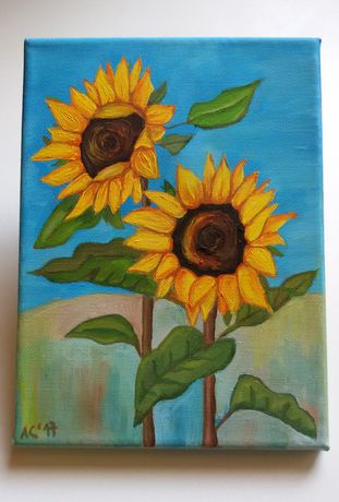Мини картина - Слънчогледи - маслени бои върху платно