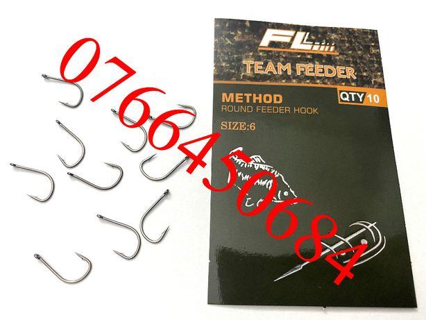 Set 10 Carlige Cu Ochet Team Feeder Round Feeder Hook Carlig nr 6