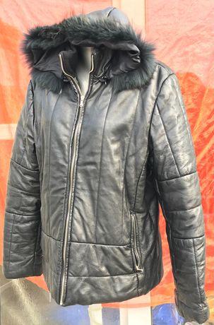 haina geaca piele cu glugă  din blana naturala
