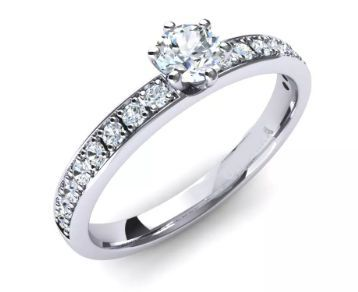 Inel aur alb si diamante
