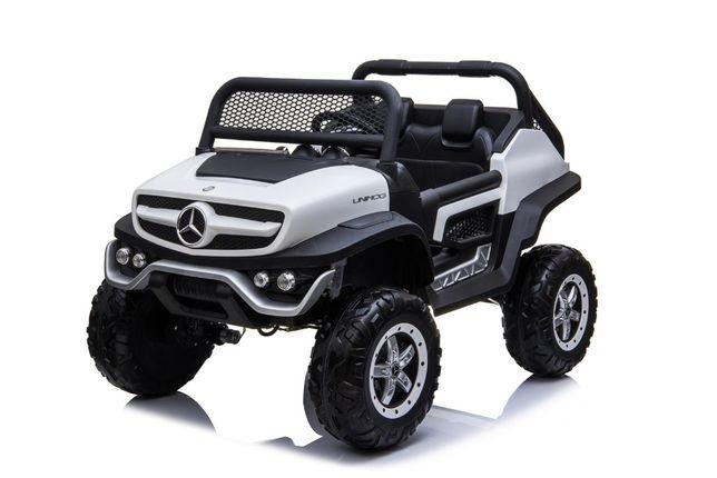 Masinuta electrica 2 pentru copii Mercedes Benz UNIMOG NOUA #Alb