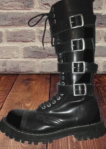 Bocanci Steel Boots, negri, 20 inele, ghete, femei, barbati, noi