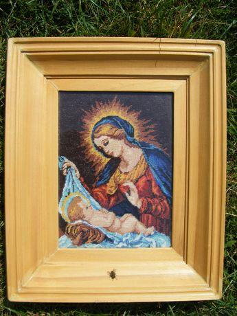 goblen lucrat manual Fecioara Maria cu Pruncul Isus