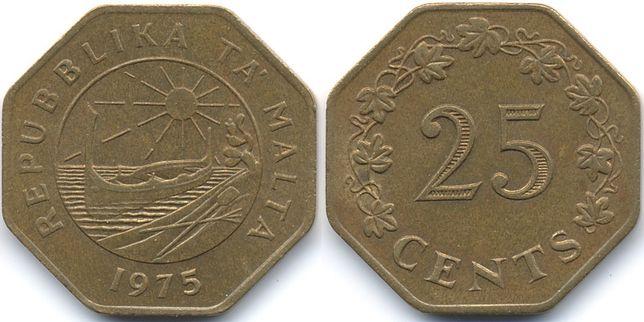 Moneda 25Cent Malta 1975