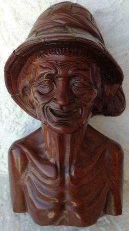 statueta unicat,lucrata manual,lemn mahon arta veche antichitati