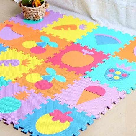 Детски мек пъзел килим за игра с плодове и цифри 10 части 30х30см