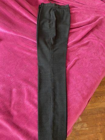 Приятен прав панталон с висока талия,сив или зелен лек вълнен плат, S