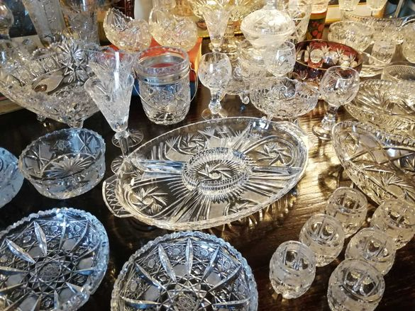 Кристална вази чаши бонбониери фруктиери купи Бохемия кристал