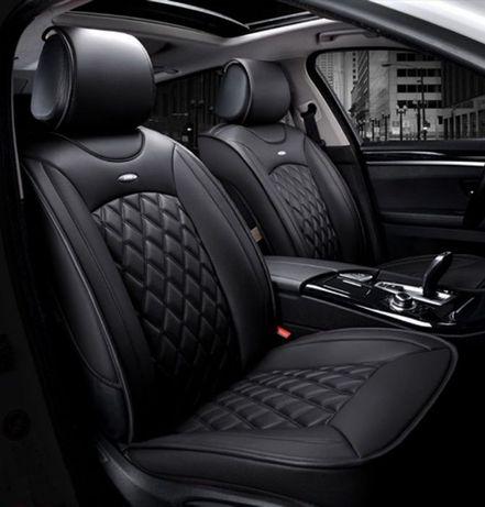 Универсална кожена тапицерия черни калъфи за предни седалки черно