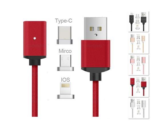 Магнитен кабел за телефон 1 метър. Накрайници micro USB TypeC iOS.