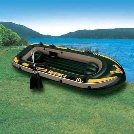 Set barca gonflabila / pneumatica Intex  Seahawk  + podină + motor