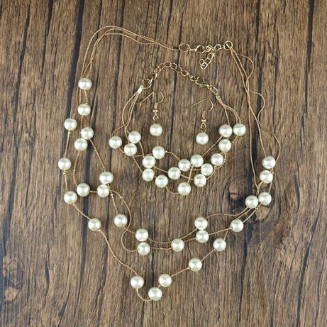 Set bijuterii auriu cu perle