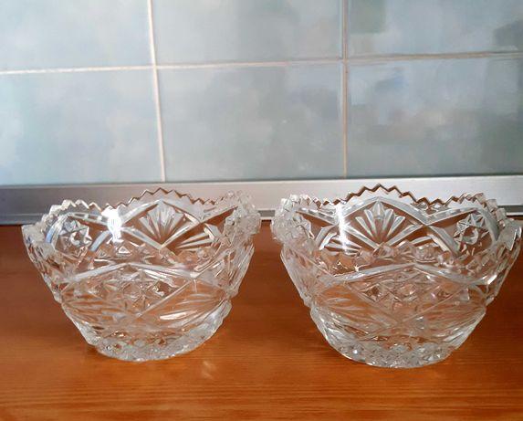2 хрустальные вазочки и 2 из стекла
