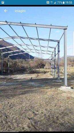 Vând hala metalica 8m lățime pe 20m lungime compusa fin ferme stâlpi p