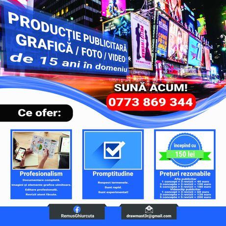 Prețuri accesibile! Producție de reclame grafice sau video.
