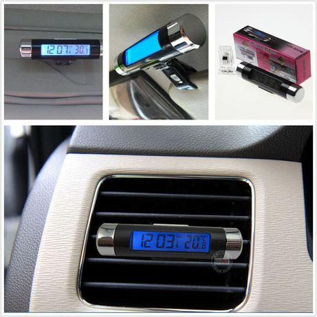 Termometru si Ceas Electronic pentru Masina cu Afisaj LCD albastru