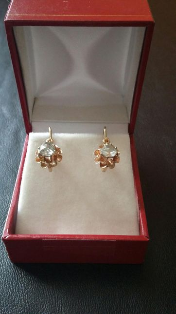 reducere -cercei aur 14k cu diamante