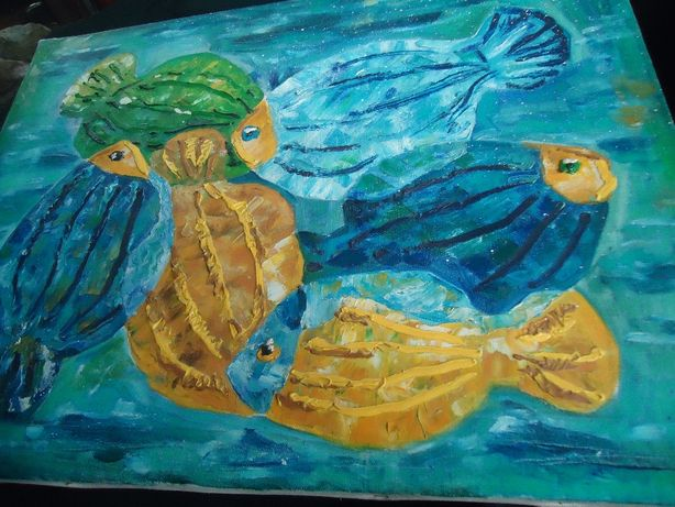 Картина 55см на 42 см Холст Масло Старинная . Рыбки магические