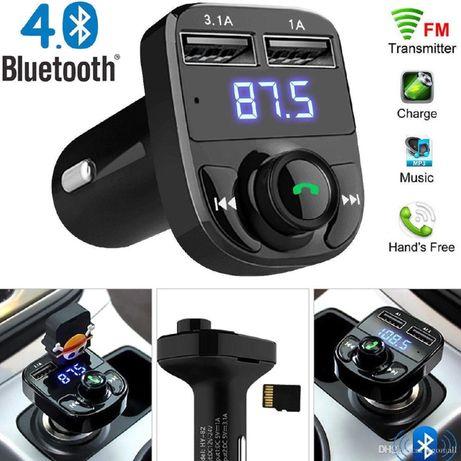 Авто FM трансмитер X8 с Bluetooth, USB, Micro SD, волтметър, 1.4inch L