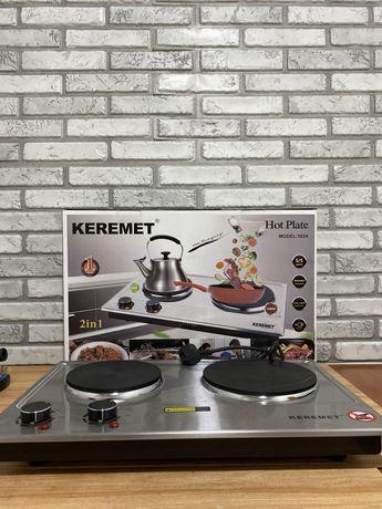 Электроплита настольная кухонная бытовая на 2 конфорки дисковая