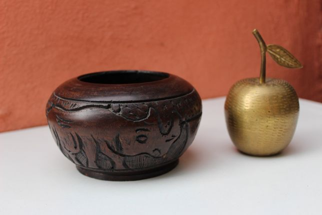 Bol de lemn S-E_ASIA, China-India, sculptat manual, prima parte sec 20
