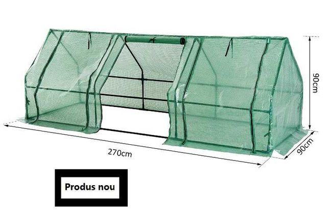 Seră pentru Grădină cu Prelată din PE Cadru din Oțel, 270x90x90cm,
