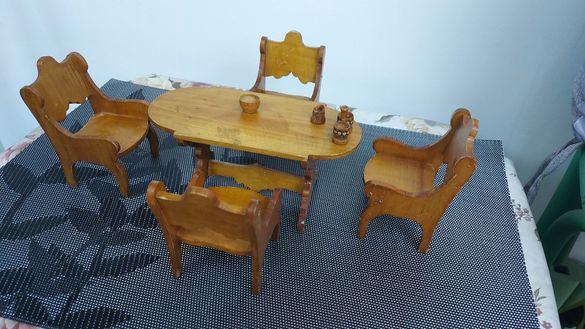Антикварен комплект маса със столчета за кукли