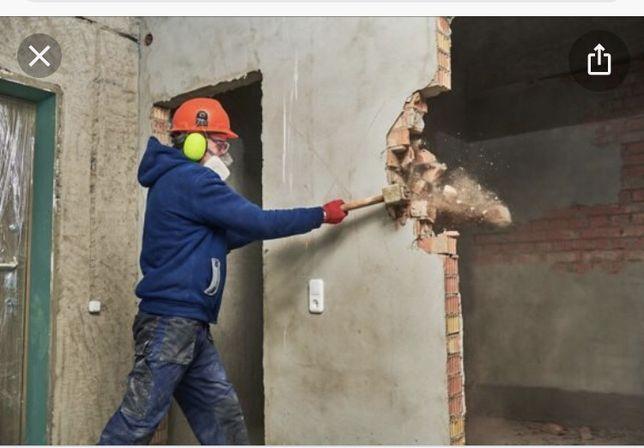 Демонтаж стен стяжки разрушение бетона снос слом проем окон двери..