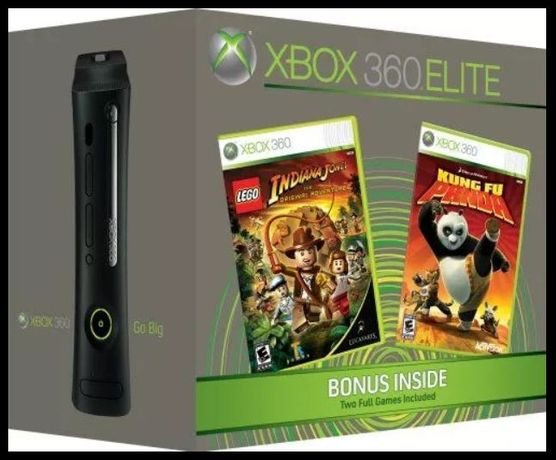 XBOX 360 Elite Edition Full Box+2 Gamepad+250 Games