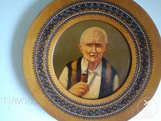 Farfurii decorative pictate pe lemn in ulei
