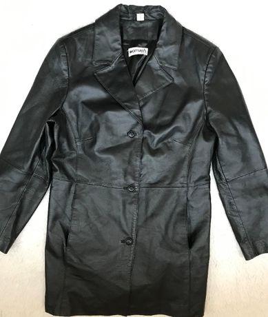 Pardesiu negru dama piele naturala 3 buzunare haina eleganta femei