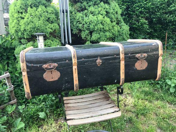 Антикварен  куфар карета, личен куфар на морски офицер