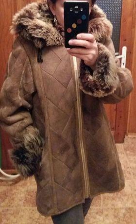 Топло кожено дамско палто