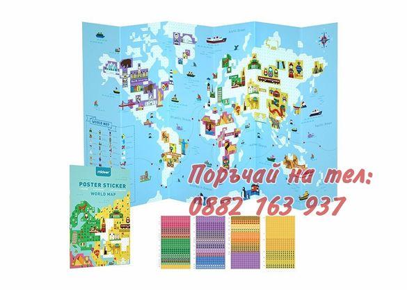 Детска Карта на Света със Стикери MiDeer, Опознай Света,1500+ стикера,