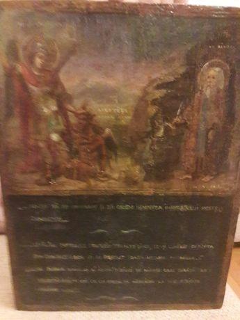 Vand icoana foarte veche din Romania, Sf. Mihail si Sf. Sisoe