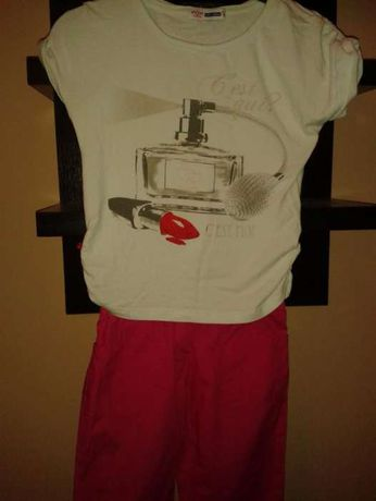 tricou + pantaloni tercot pe fetite cu inaltimea 124-132 cm