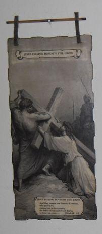 """Gravură """"Isus cade sub povara crucii"""""""