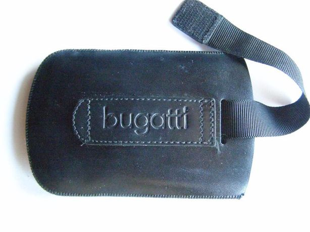 Husa telefon Bugatti, piele naturala, 6.5 cm x 12 cm., neagra / schimb