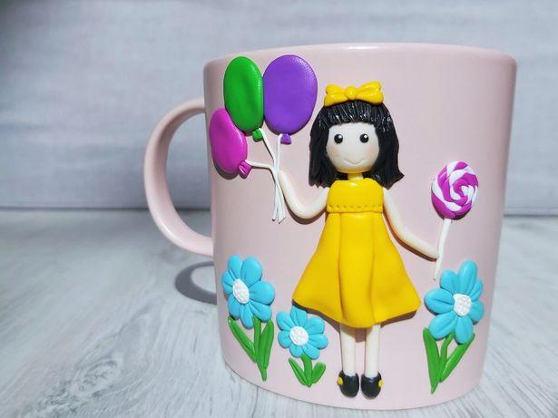 Cana handmade cadou martisor fetita cu baloane din fimo