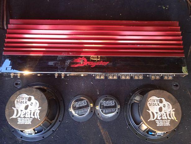 Amplificator auto dragter/ 2 boxe death / 2 tweeter-e edge